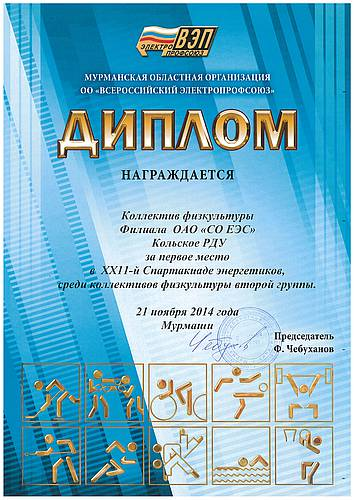 Системный оператор Единой энергетической системы Команда Филиала  диплом победителя Спартакиады